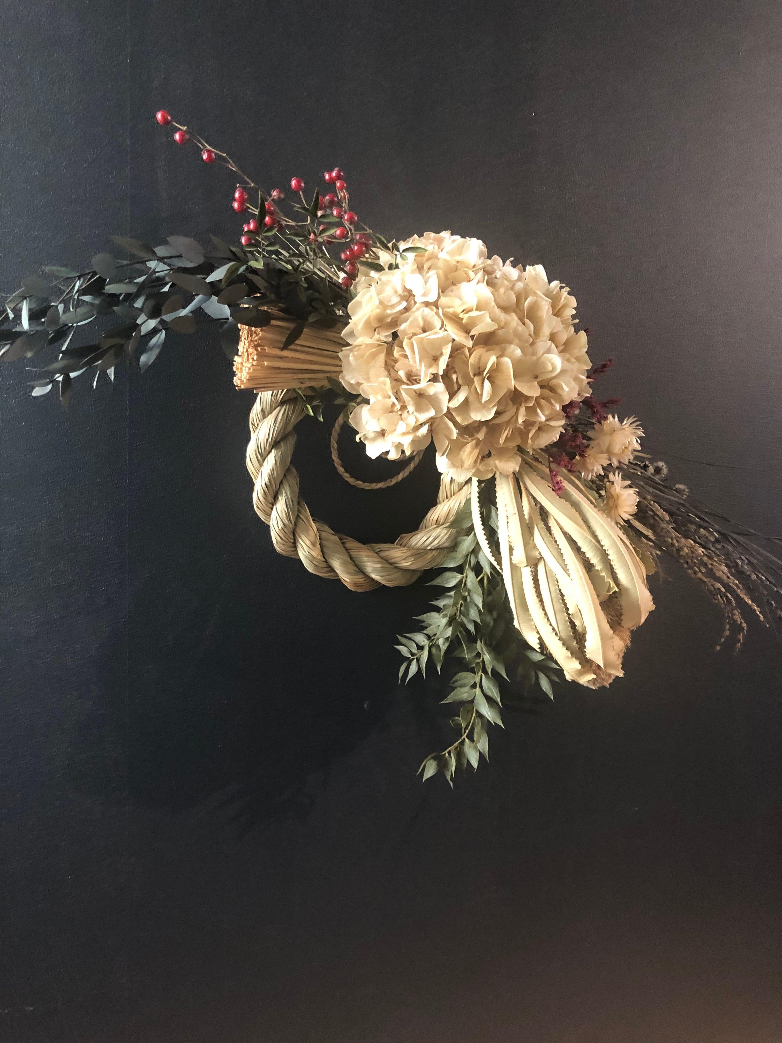 アンティークカラーのシックなお正月飾りしめ縄リース Beiju