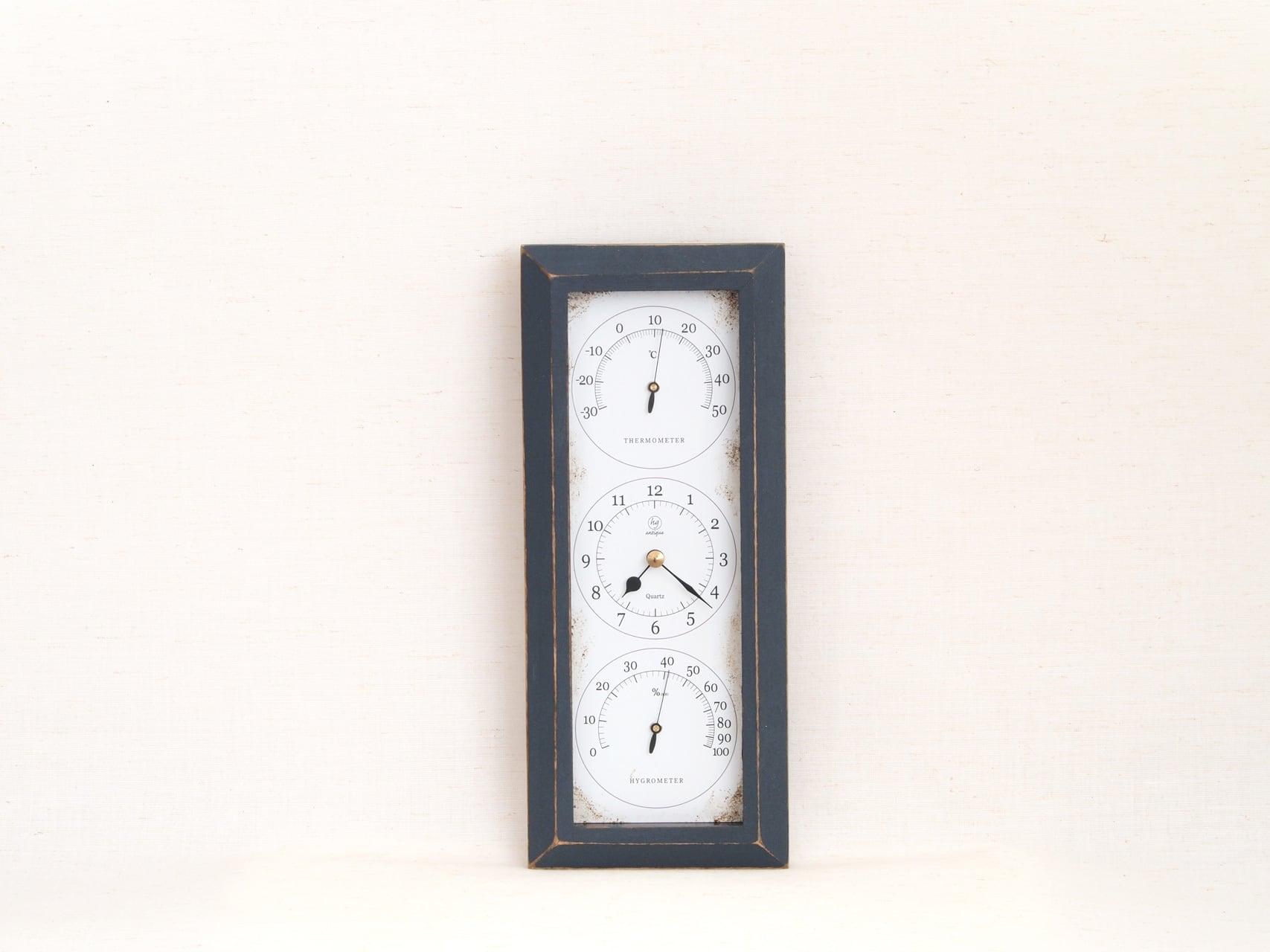 HAKARU ハカル / 温湿度計 時計 Antique Clock アンティーククロック 縦型 壁掛け ブルー YT-904