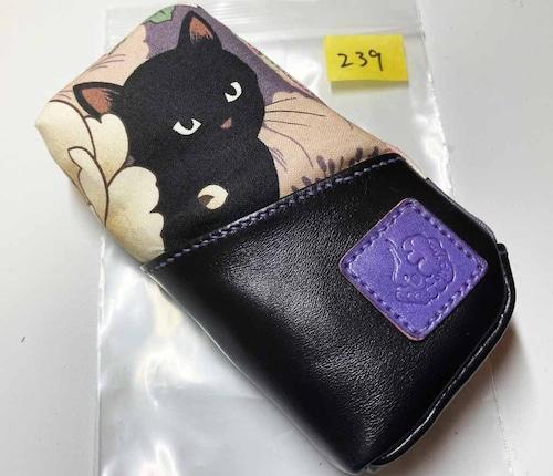 黒猫と革のL字ファスナーポーチ(紫x黒) [239-pt]