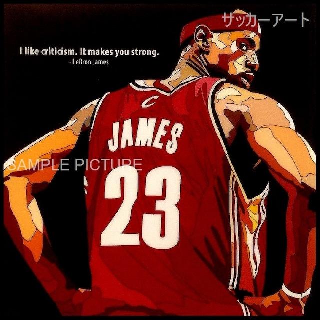 スポーツグラフィックアートパネル レブロン・ジェイムス NBAクリーブランド・キャバリアーズ 木製 壁掛け ポスター (003-037)