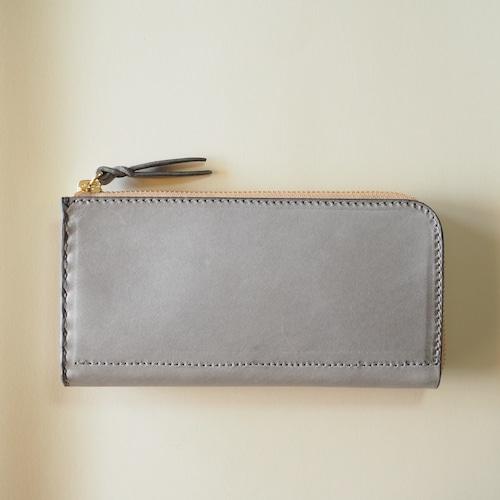 L字ファスナーの長財布 / グレー