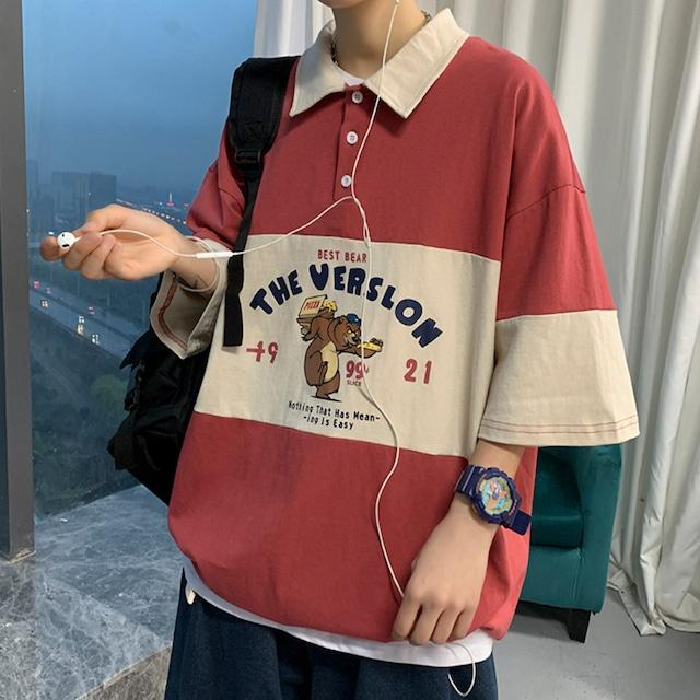 レトロキャラプリントポロシャツ