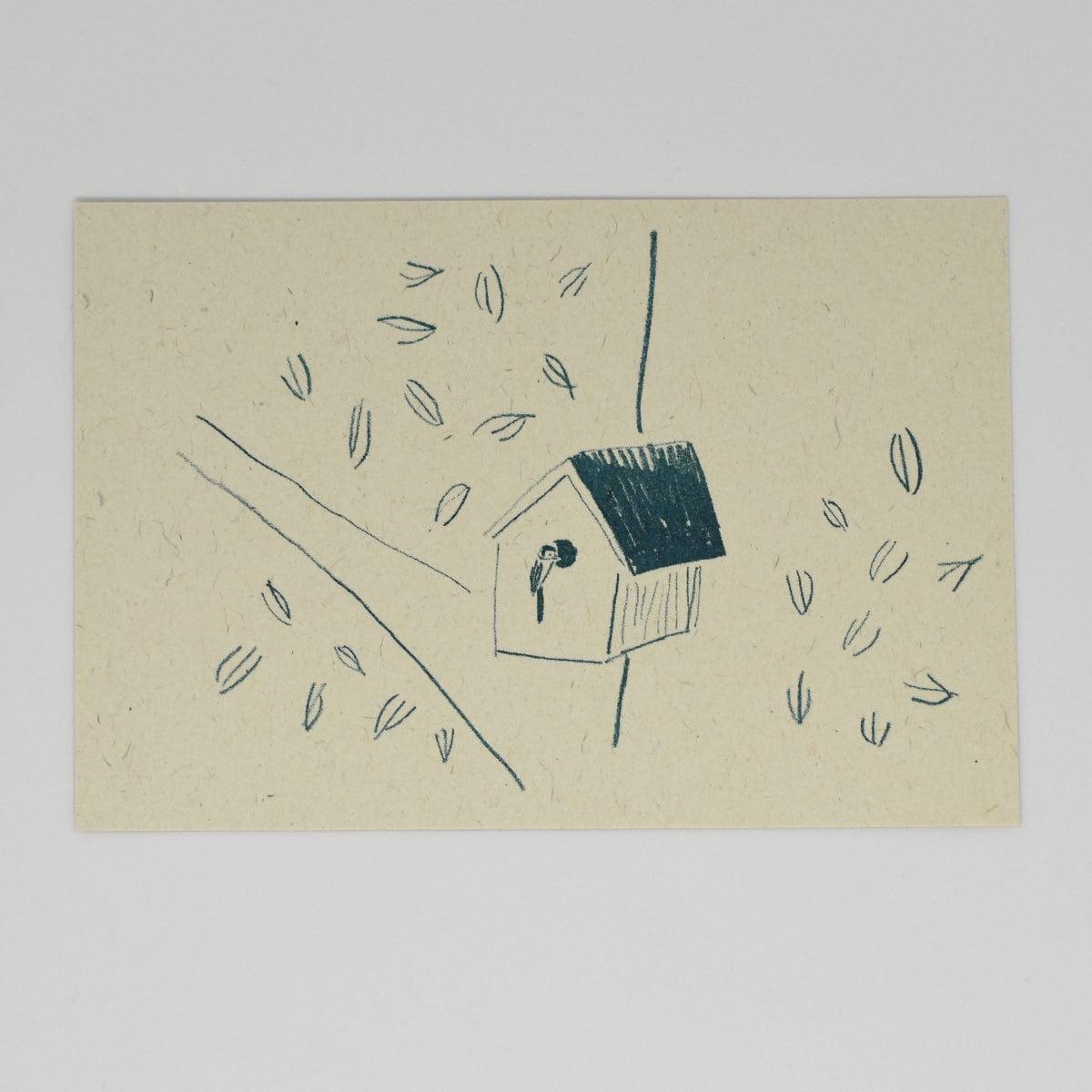 HIGASHI ALPS(ヒガシアルプス)ポストカード 巣箱と野鳥