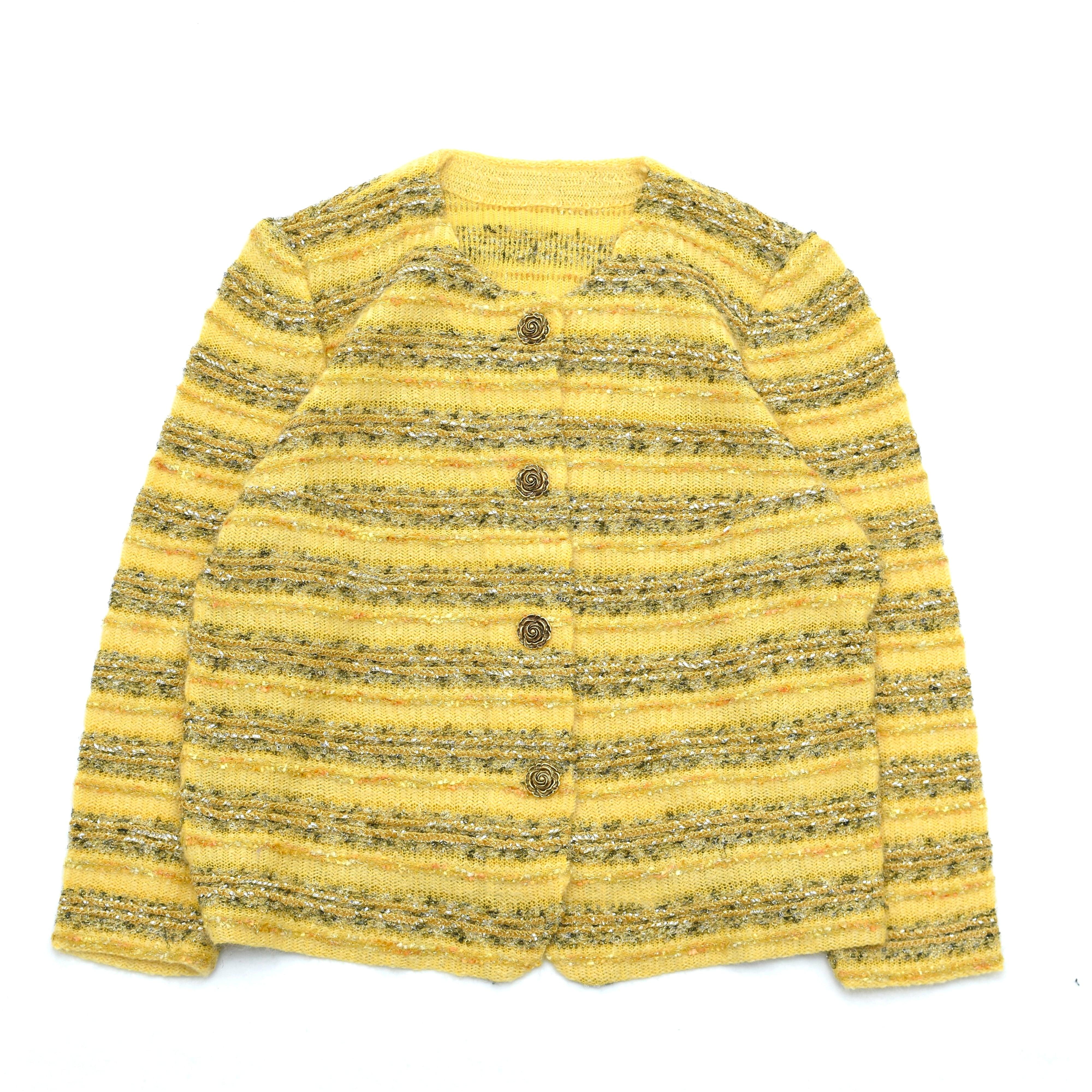 Retro glitter stripe mix knit cardigan