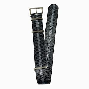 DELUXE NYLON NATO TYPE WATCH STRAP /  Black & Gray Single strip Combi color