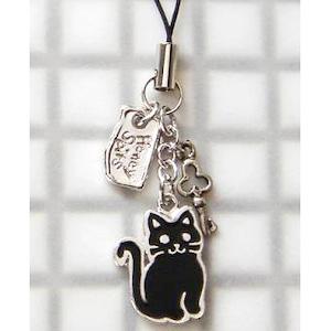 コピー:ストラップ 和猫(黒)+キー (E-1-020B)