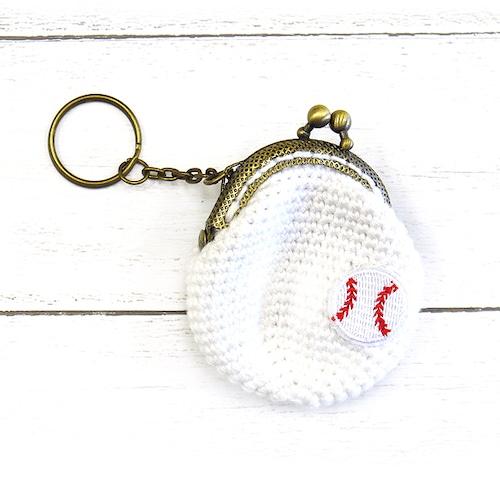 【SJK】キーホルダー付き野球がま口/財布