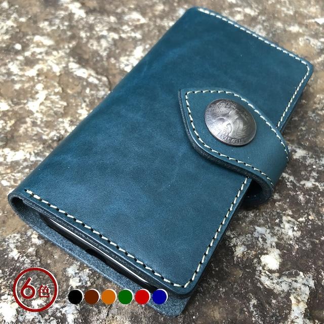 【iPhoneケース】各種対応 手帳型 6カラー ステア オイルスムース ヌメ革 コンチョフラップ付き IPBCON-C6