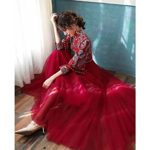 【唐装・漢服・秀禾服】結婚式ドレス 花嫁ドレス 演出服 撮影服 XS S M L LL 3L 4L ワインレッド 赤