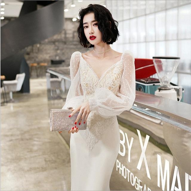 ドリーム刺繍ドレス、長袖、サスペンダー  YN2072