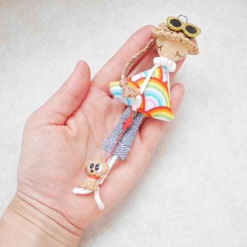 【お散歩ワンちゃんロコガール】ククイナッツのハワイアンガール/キャミ&デニム(レインボー)