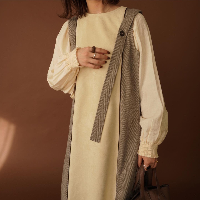two-tone suede long vest
