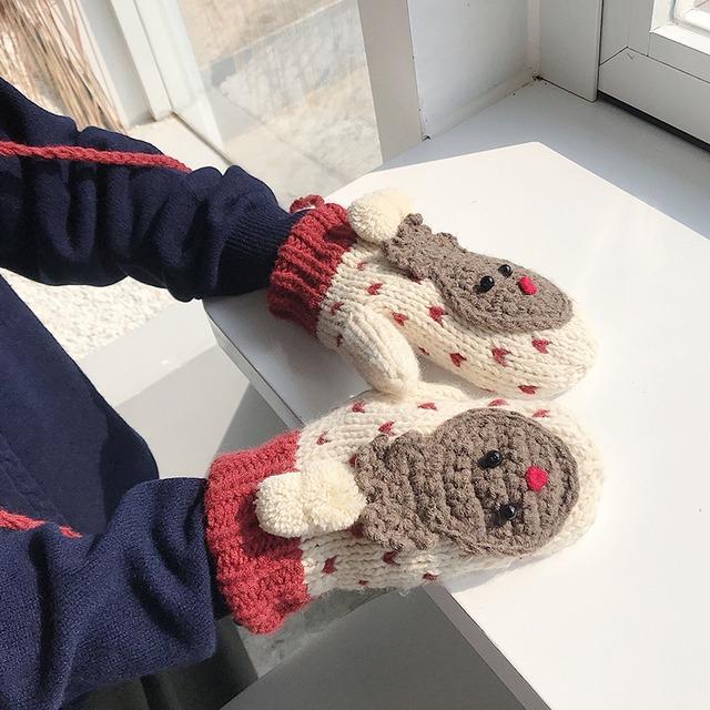 【小物】4色クリスマスコーデニット可愛い雪だるま暖かい手袋42919523