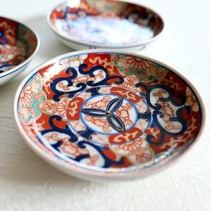 【30932】 伊万里 ブルー赤絵小皿 明治 / Imari Flower Plates