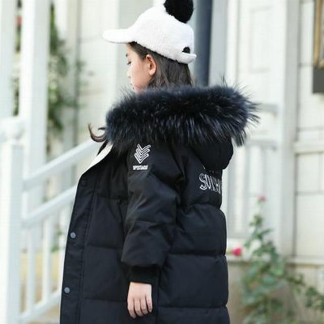 110~160cm 5カラー ★ キッズ ロング ダウン ボリューミー 暖か ファー フード 付き 冬