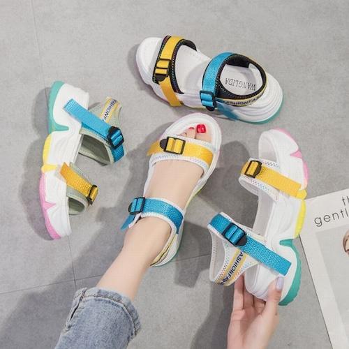 スポーツサンダル 厚底 反射板 スポサン 6.5cm ベルト 韓国ファッション レディース サンダル 厚底サンダル フラット かわいい 歩きやすい 617052252988