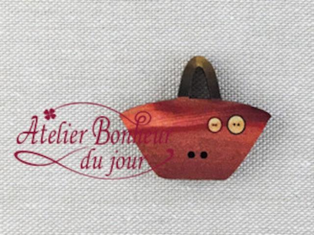 フランス製 木製ボタン アトリエ ボヌール ドゥ ジュール 【バッグ レンガカラー】
