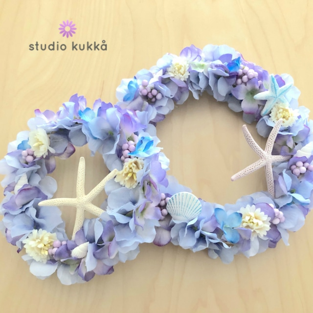 送料無料 直径18cm&13cm セット♡ブルーパープルのグラデーションアジサイ サマーリース 紫陽花