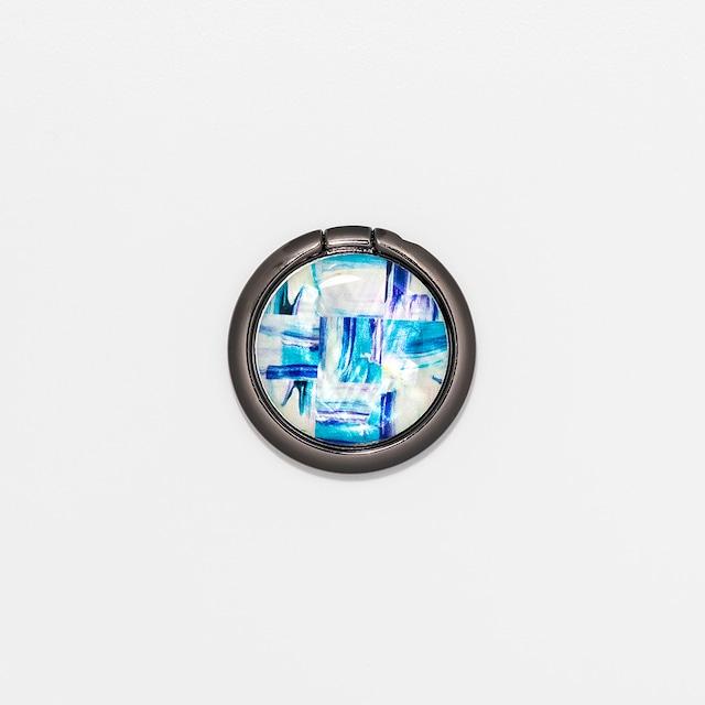 天然貝シェル★ミネラルブルー(スマホリング・バンカーリング)|螺鈿アート|360度回転