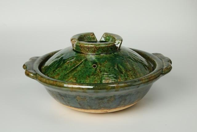 雲井窯8寸土鍋(織部叩き)〈2~3人用〉 信楽焼