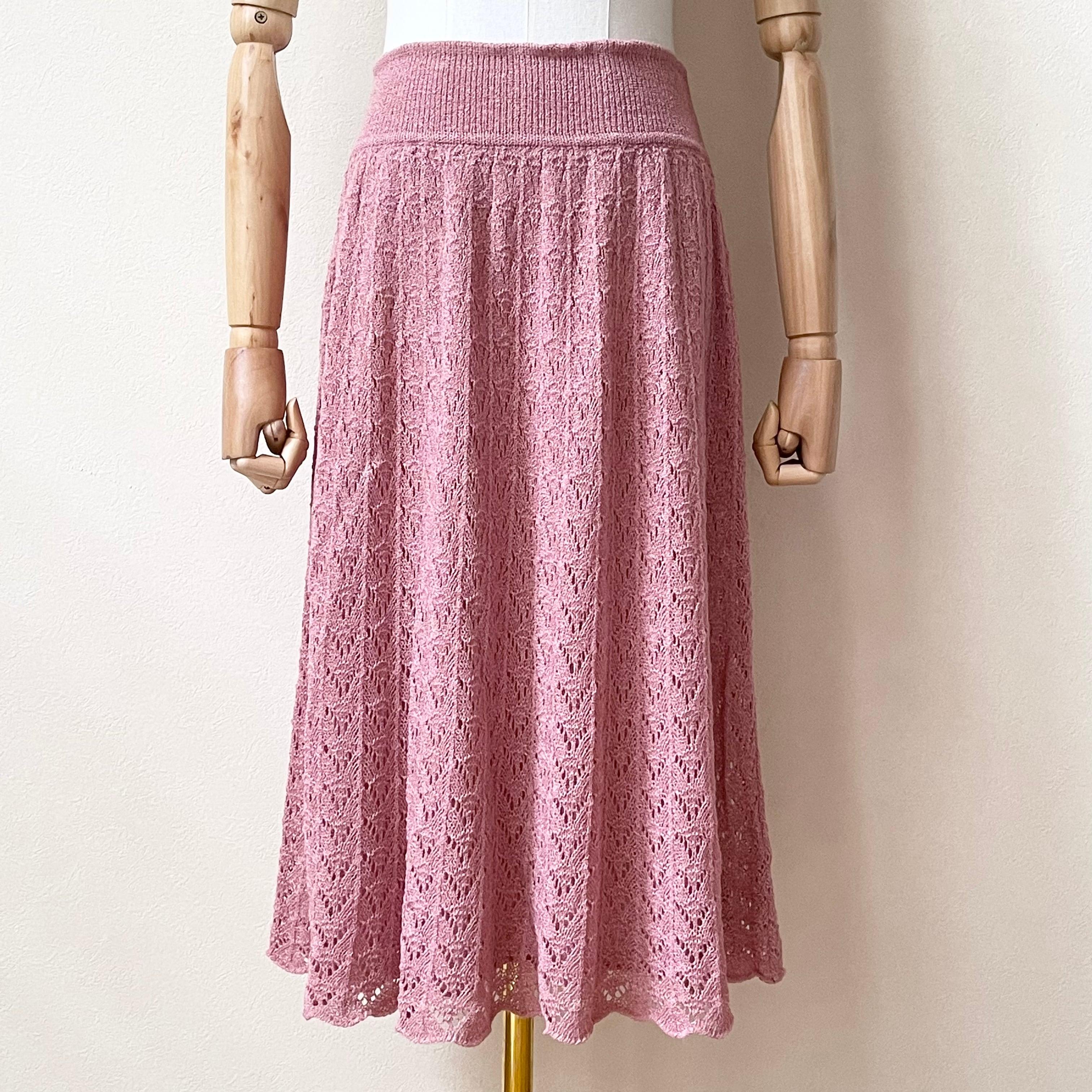 80年代 レース編み ニットフレアスカート アメリカ 古着 日本M