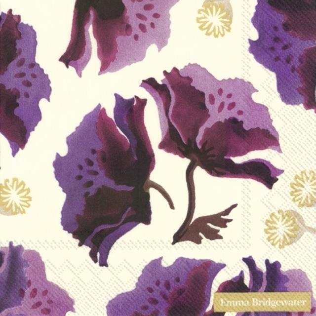 2021秋冬【Emma Bridgewater】バラ売り2枚 ランチサイズ ペーパーナプキン PURPLE POPPY クリーム