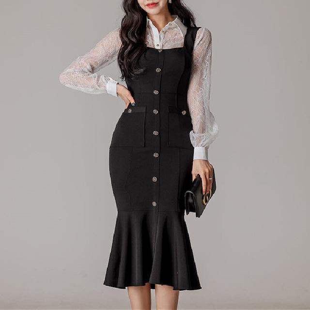 セットアップ レース ボタン ロング OL/フォーマル 美人度アップ ファッション 透かし彫り ホワイト +ブラック S M L LL