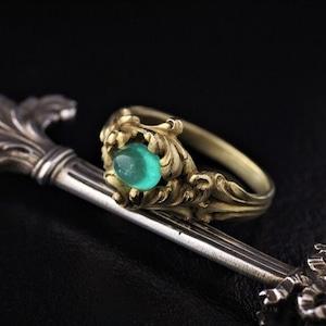 Rococo Revival Emerald & Gold Ring ロココ・リバイバル カボション・エメラルド&ゴールドリング