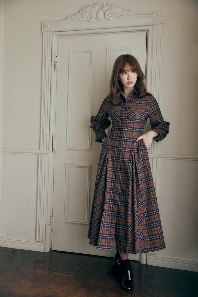 Checkered Pleats Long Shirt Dress