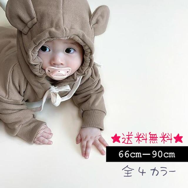 【66cm-90cm】ベビー☆クマさんパーカーロンパース (398)