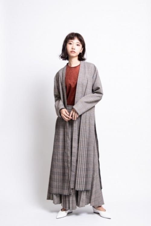 il - pleats skirt/check