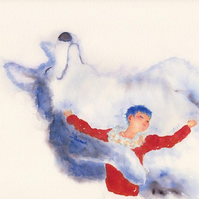 絵画 絵 ピクチャー 縁起画 モダン シェアハウス アートパネル アート art 14cm×14cm 一人暮らし 送料無料 インテリア 雑貨 壁掛け 置物 おしゃれ 水彩画 創作 物語 ロココロ 画家 : 北原 千 作品 : 抱擁hug