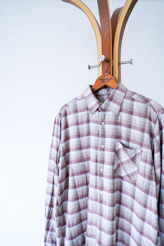 "【1960s】""French Made"" Euro Vintage Grandpa Shirts / v666"