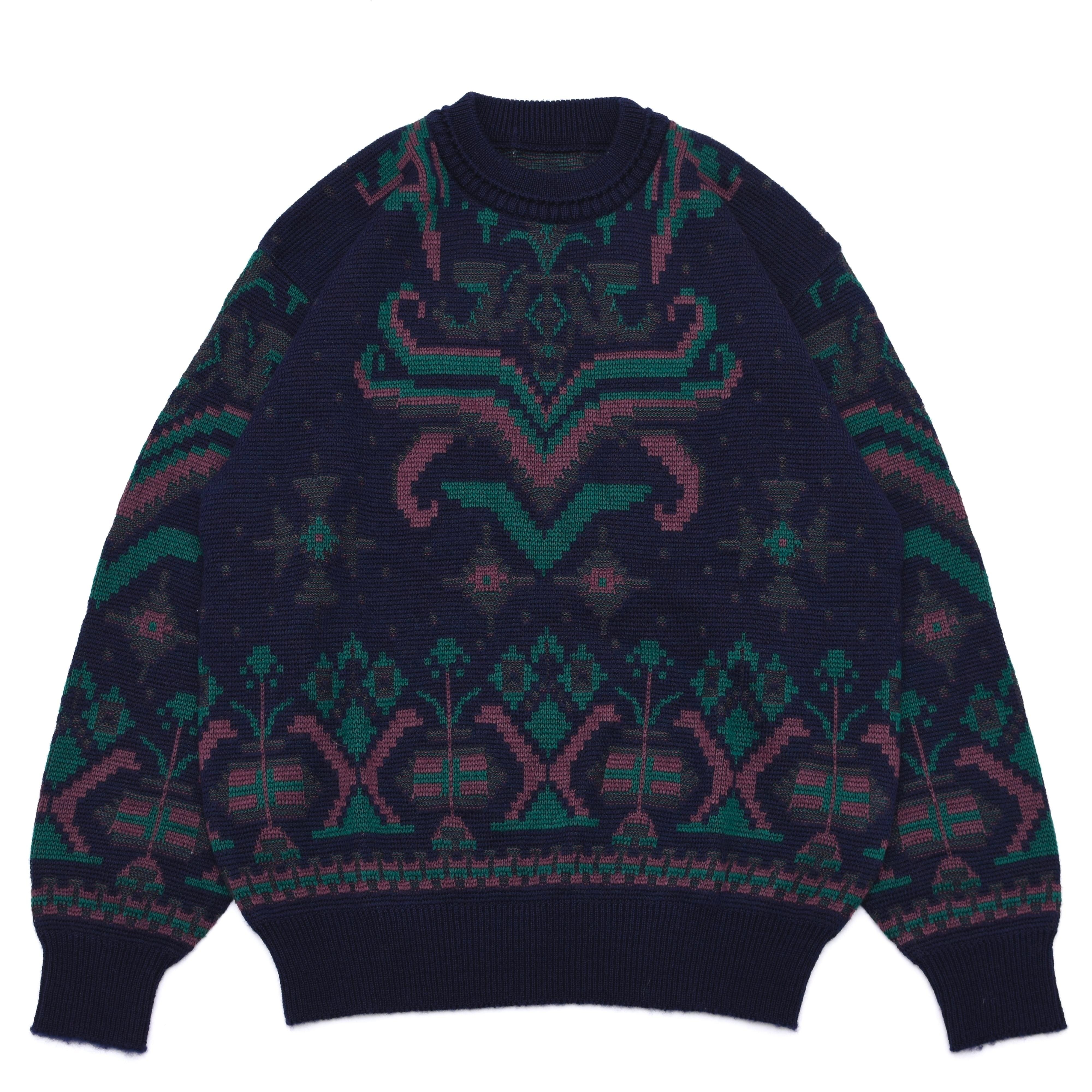 Geometric jacquard pattern pullover knit