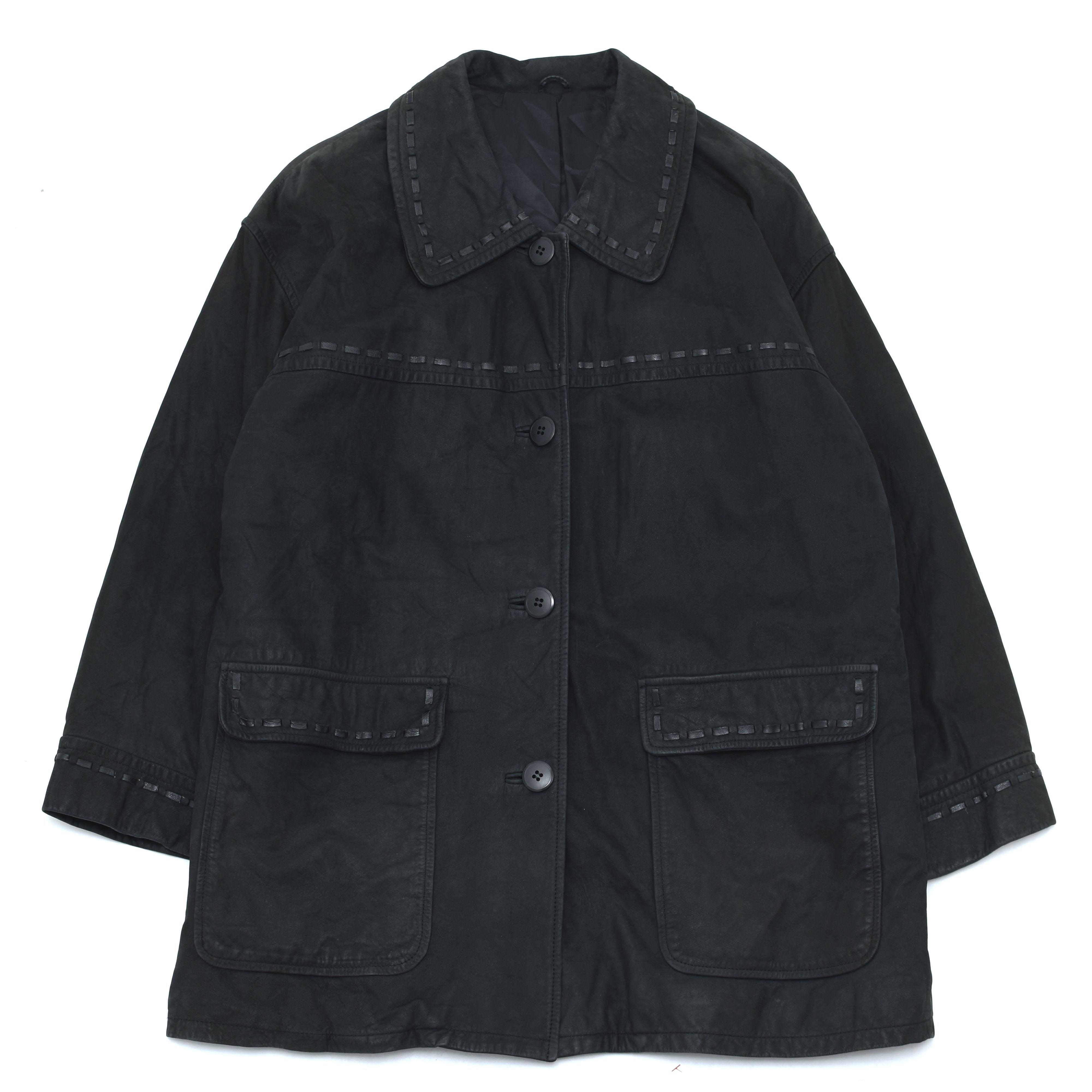 Unisex black nubuck leather coat