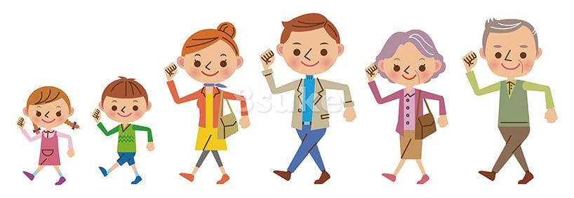 イラスト素材:元気に歩く3世代家族(ベクター・JPG)