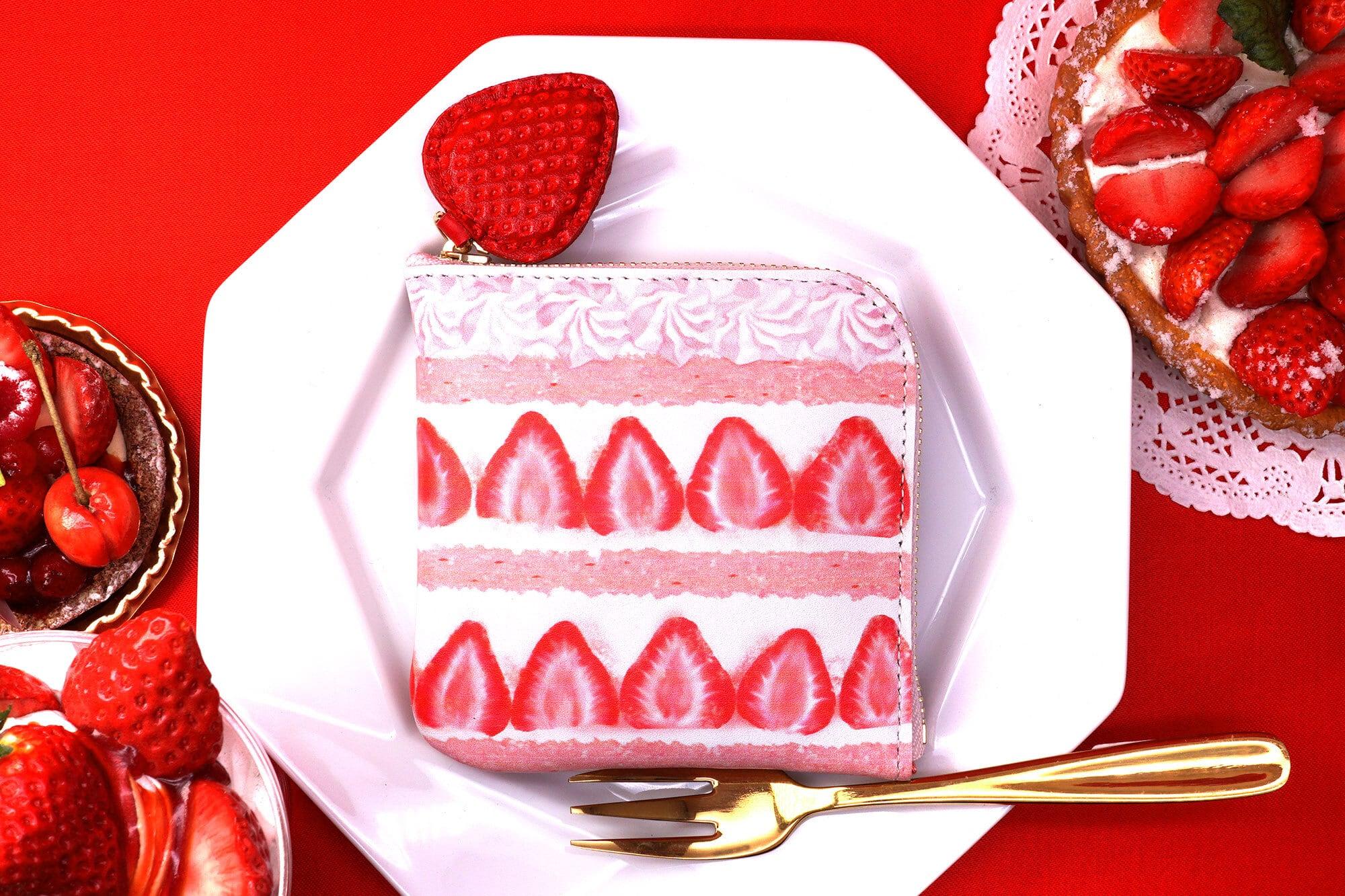 ピンクショートケーキなL字ファスナーコンパクト財布(牛革製)