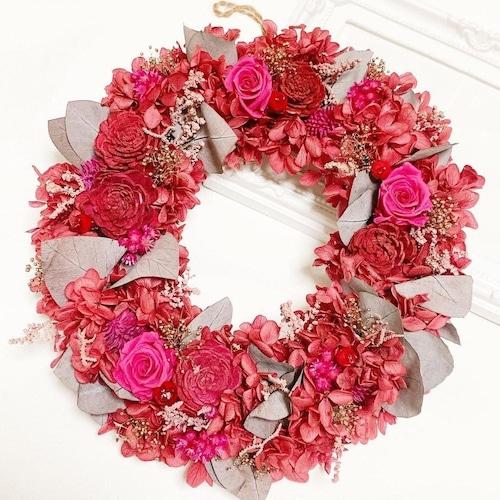 プリザーブドフラワーリース【Lサイズ】リース ピンク 大きい 大人ピンク カシスピンク 大人可愛い ユーカリ 紫陽花