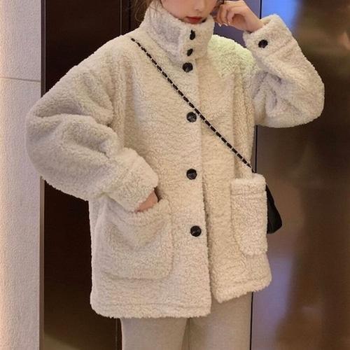 ボアブルゾン ボタン 韓国ファッション レディース ボアジャケット アウター ショートコート ジャケット もこもこ DTC-606392301726