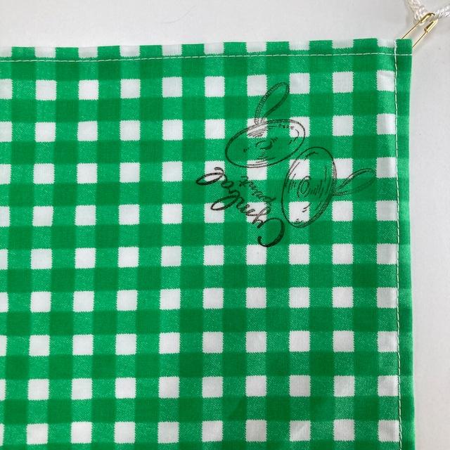 ギンガム チェック ハンカチ 青 緑 黄色 黒 ケニファイン 抗菌 シンバルプリント 53x53cm 日本製  綿100% 洗える バンダナ