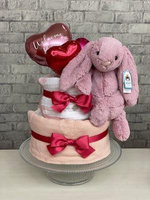 1点限り‼︎ジェリーキャット♡pink bunnyのピンクおむつケーキ