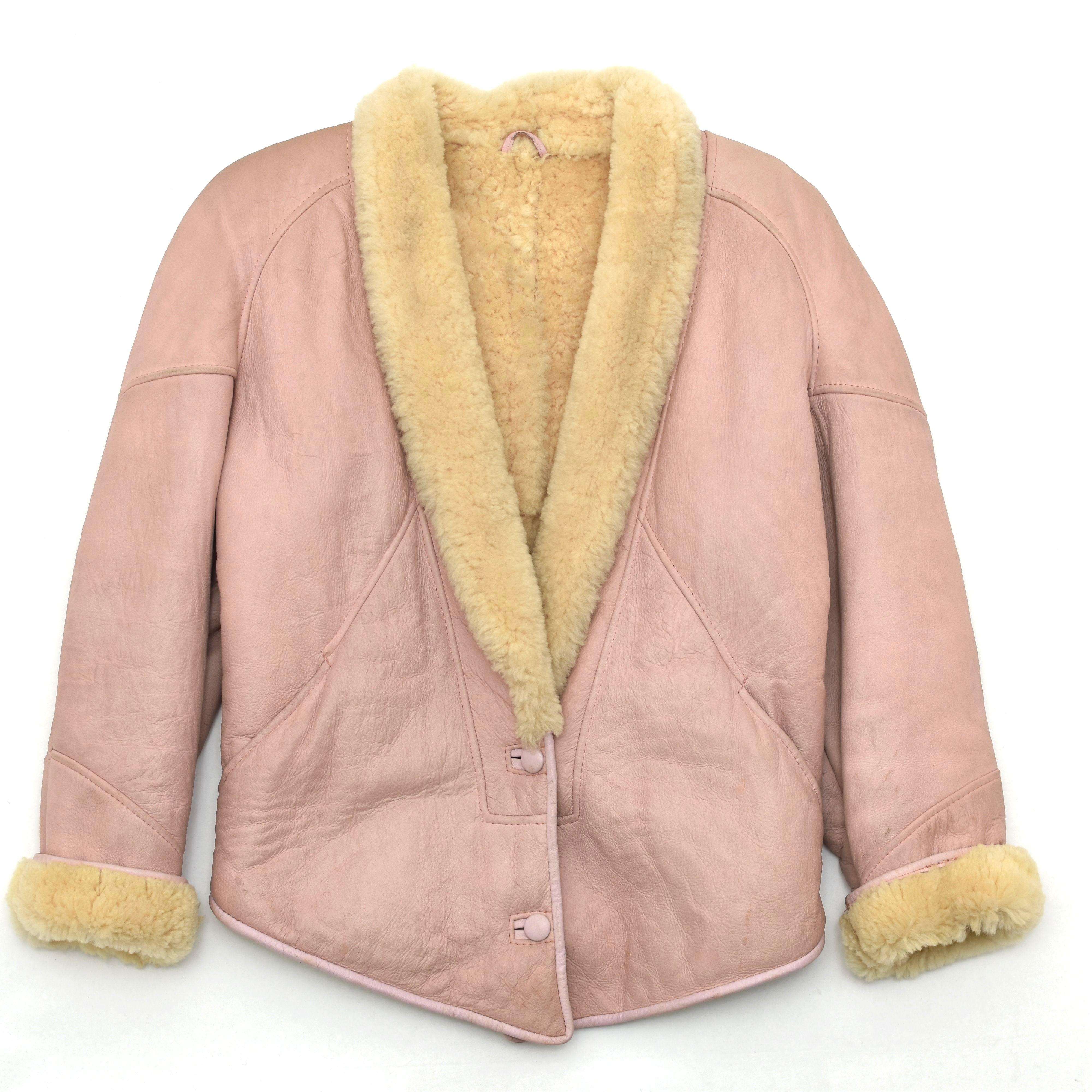 Vintage Mouton Leather Boa Jacket