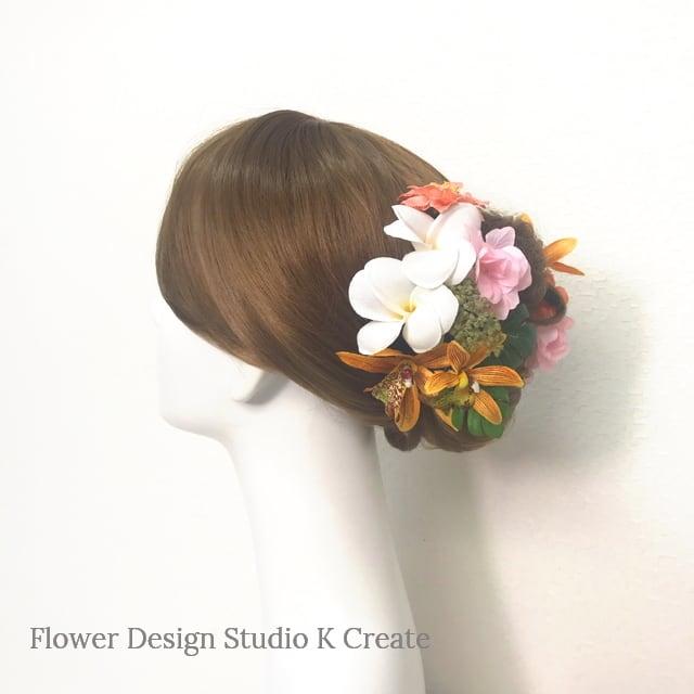 プルメリアとピーチピンクのお花のヘッドドレス(10点セット)結婚式 ヘッドドレス ピーチピンク フラダンス