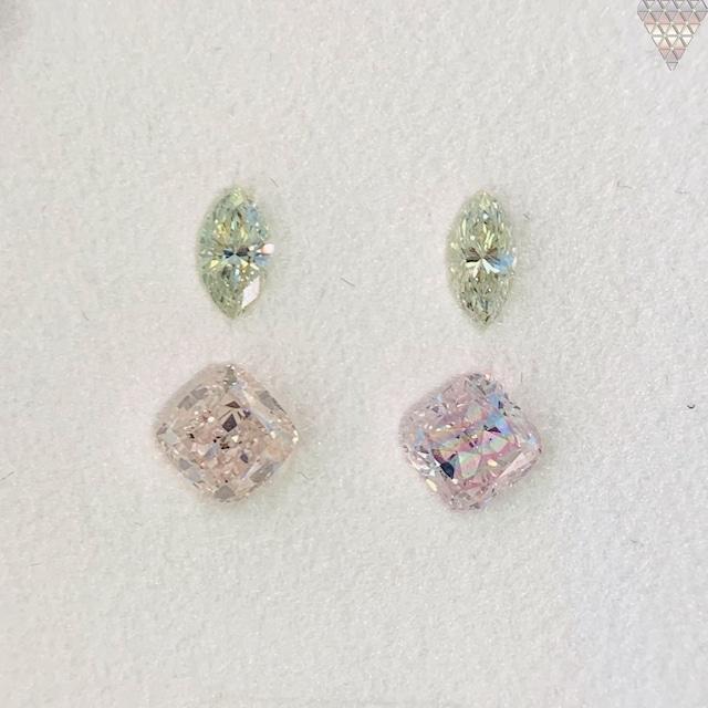 合計  0.8 ct 天然 カラー ダイヤモンド 4 ピース GIA  2 点 付 マルチスタイル / カラー FANCY DIAMOND 【DEF GIA MULTI】