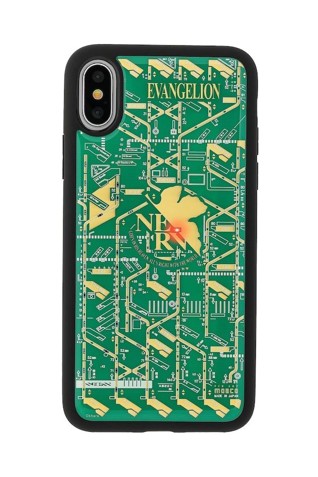 FLASH NERV 基板アート iPhoneX/XSケース 緑【東京回路線図A5クリアファイルをプレゼント】
