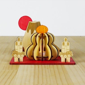 「富士山と門松と鏡餅」木製ミニランプ