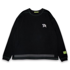 T.C.R EMBROIDERY LOGO L/S TEE - BLACK / GREEN