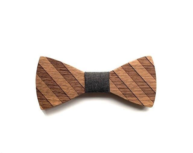 木製 蝶ネクタイ #Diagonal stripe - 画像3