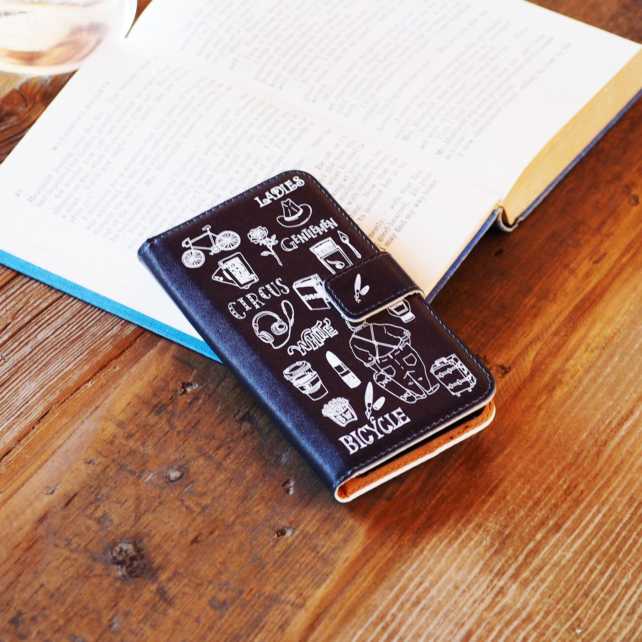 雑誌FUDGE掲載 サーカス手帳型スマホケース ブラック