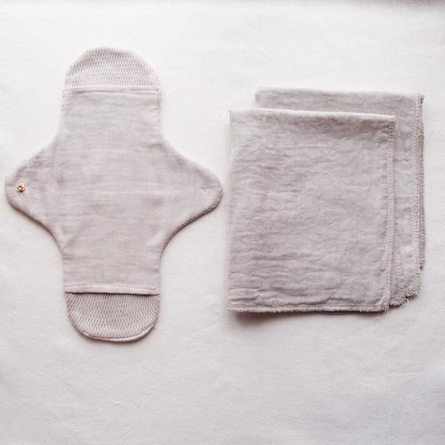 Pour moi  Moon Cloth #gray basic kit  | オーガニックコットン 布ナプキン 基本セット